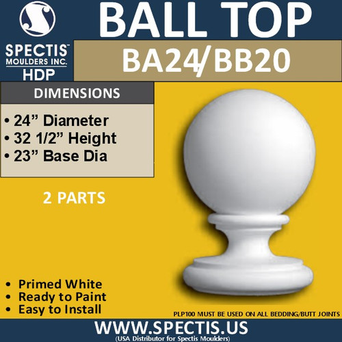 "BA24 Urethane Ball Cap for Newel Post 24"" Wide"