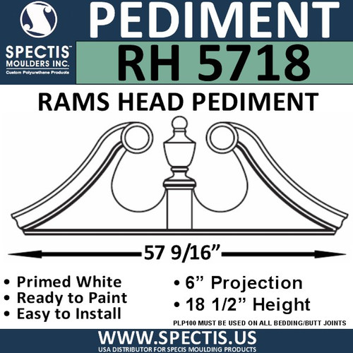 "RH5718 Rams Head Window/Door Pediment 57 9/16"" x 18 1/2"""