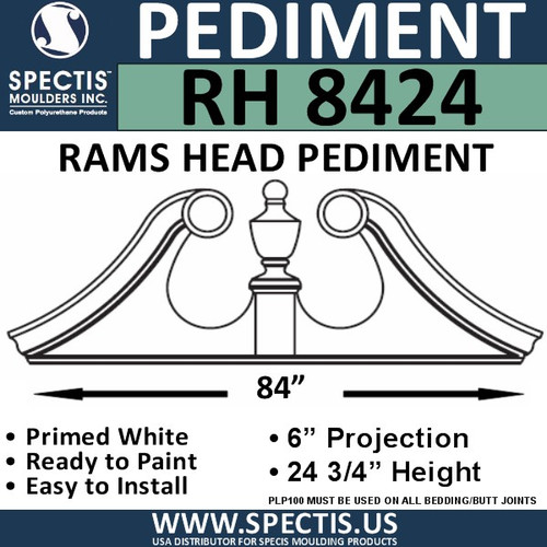 "RH8424 Rams Head Window/Door Pediment 84"" x 24 3/4"""