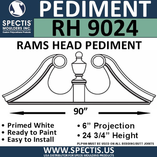 "RH9024 Rams Head Window/Door Pediment 90"" x 24 3/4"""