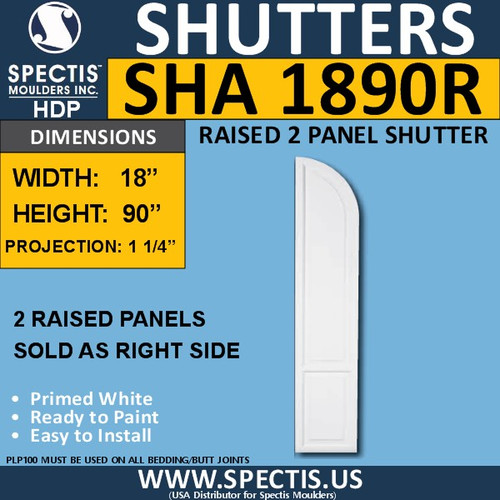 SHA1890R Arch Top Polyurethane Shutter 18 x 90 RIGHT