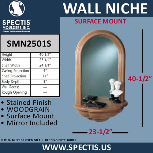 "SMN2501S Surface Mount Wall Niche Woodgrain Finish 23 1/2"" x 40 1/2"""