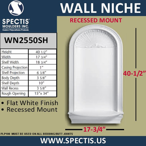 "WN2550SH In-Wall Niche with Shell Top 17 3/4"" x 40 1/2"""