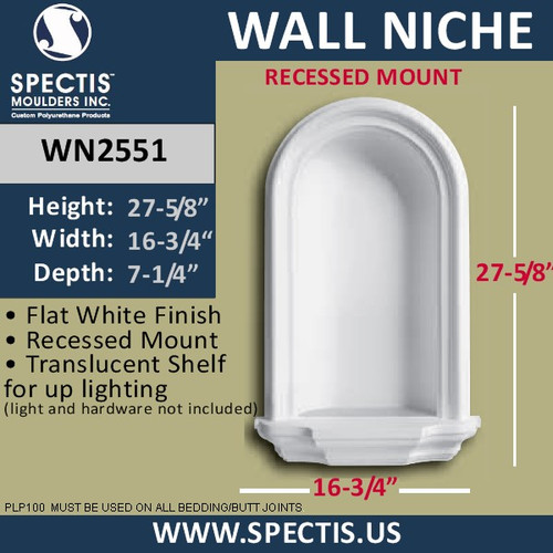 "WN2551 In-Wall Niche with translucent shelf for light 15/12"" x 27 1/2"""