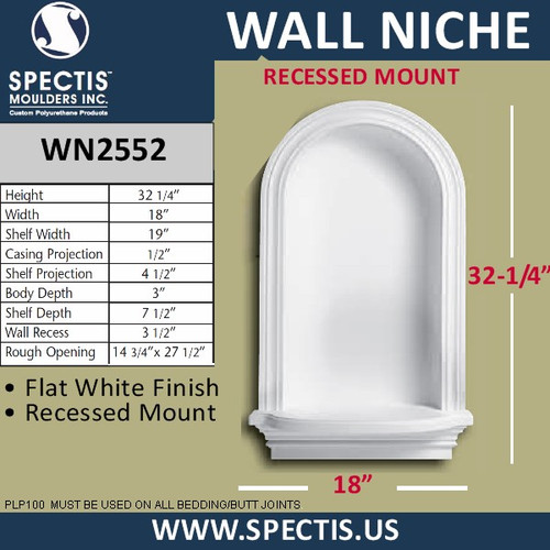 "WN2552 In-Wall Niche Flat White Finish 18"" x 32 1/4"""