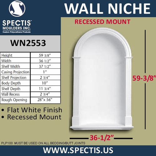 "WN2553 In-Wall Niche Smooth Flat White Finish 36 1/2"" x 59 3/8"""