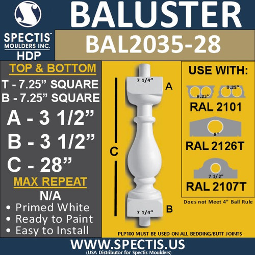 """BAL2035-28 Spectis Baluster or Spindle 7 1/4"""" x 28"""""""