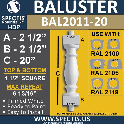 "BAL2011-20 Urethane Baluster or Spindle 4 1/2""W X 20""H"