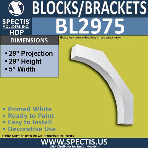 "BL2975 Eave Block or Bracket 5""W x 29""H x 29"" P"