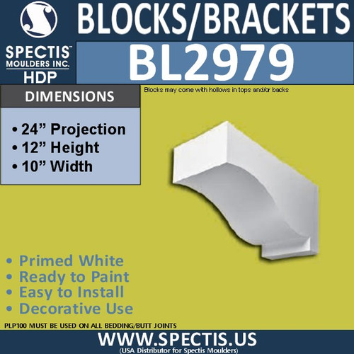 "BL2979 Eave Block or Bracket 10""W x 12""H x 24"" P"