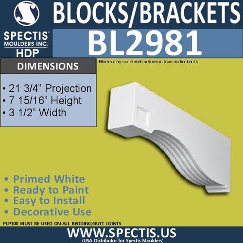 "BL2981 Eave Block or Bracket 3.5""W x 8""H x 21.75"" P"