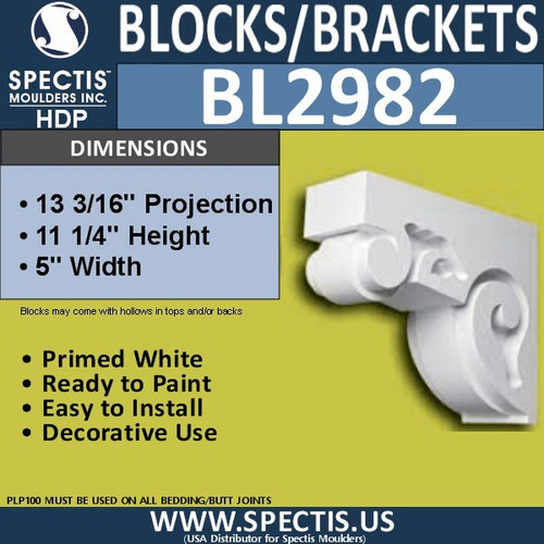 "BL2982 Eave Block or Bracket 5""W x 11.25""H x 13.19"" P"