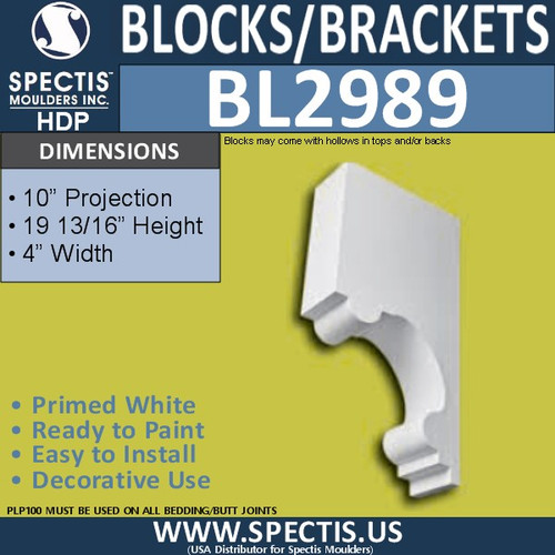 "BL2989 Eave Block or Bracket 4""W x 20""H x 10"" P"