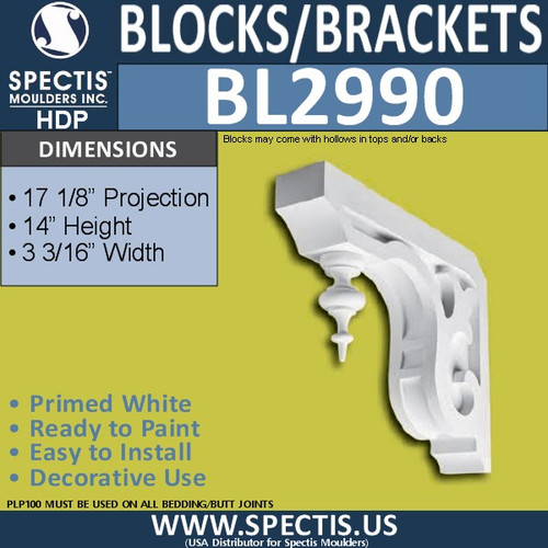 "BL2990 Eave Block or Bracket 3.19""W x 14""H x 17.13"" P"
