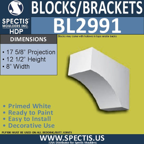 "BL2991 Eave Block or Bracket 8""W x 12.5""H x 17.63"" P"