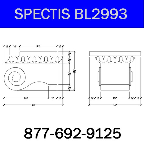 "BL2993 Spectis Eave Block or Bracket 4.5""W x 3.38""H x 5.13"" Projection"