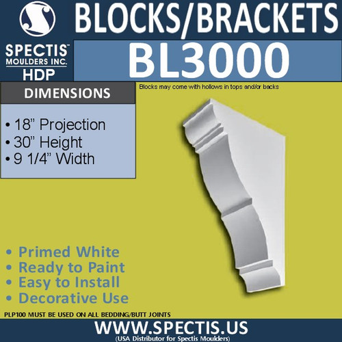 "BL3000 Eave Block or Bracket 9.25""W x 30""H x 18""P"