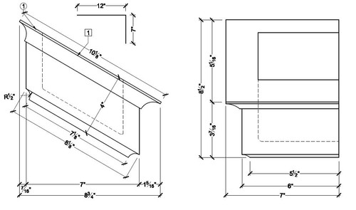 """BL3062R-7-12 Spectis Eave Block or Bracket 9""""W x 4""""H x 7"""" Projection"""