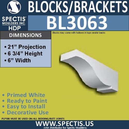 "BL3063 Eave Block or Bracket 8""W x 21""H x 6.75"" P"