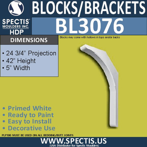 "BL3076 Eave Block or Bracket 5""W x 42""H x 24.75"" P"