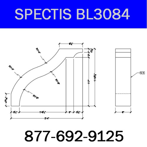 "BL3084 Spectis Eave Block or Bracket 6""W x 22.38""H x 28"" Projection"