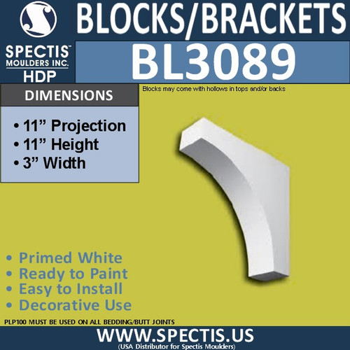 "BL3089 Eave Block or Bracket 3""W x 11""H x 11"" P"