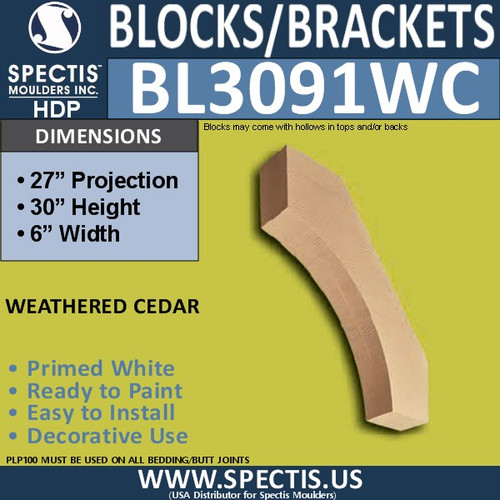 "BL3091WC Eave Block or Bracket 6""W x 32""H x 27"" P"
