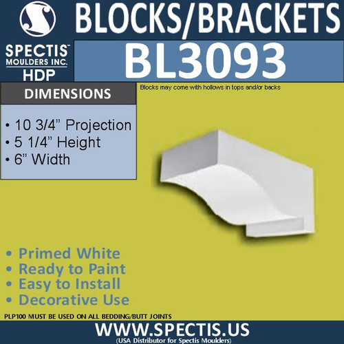 "BL3093 Eave Block or Bracket 6""W x 5.25""H x 10.75"" P"