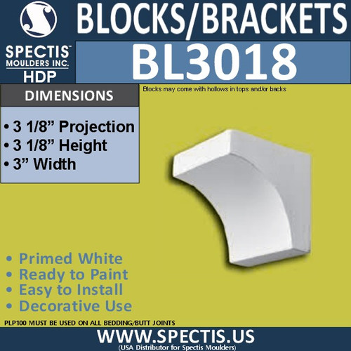 "BL3018 Eave Block or Bracket 3""W x 3.13""H x 3.13"" P"