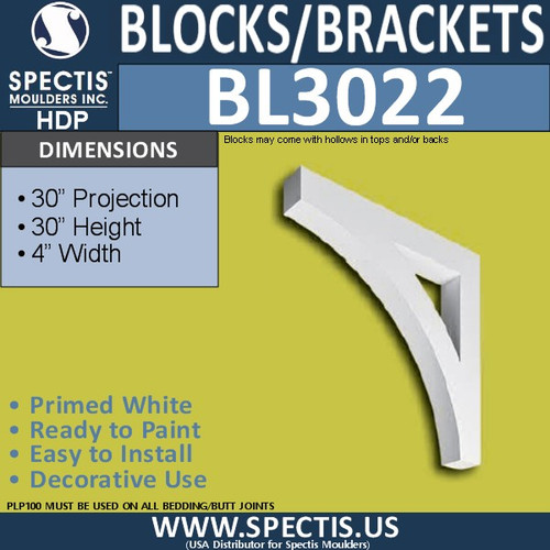 "BL3022 Eave Block or Bracket 4""W x 30""H x 30"" P"