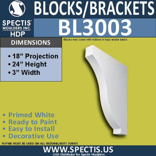 "BL3003 Eave Block or Bracket 3""W x 24""H x 18"" P"