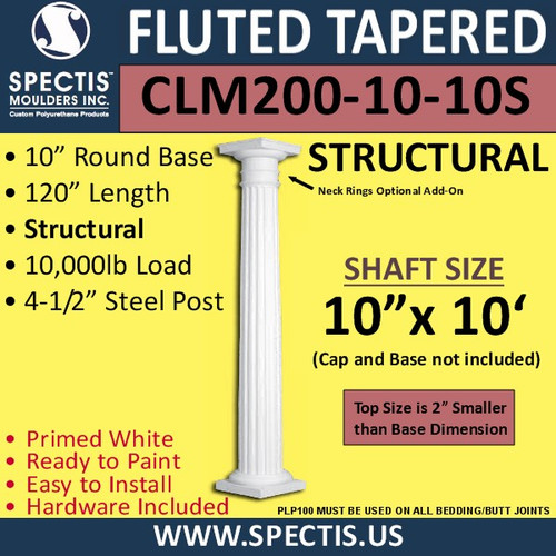 "CLM200-10-10S Fluted Tapered Column 10"" x 120"" STRUCTURAL"