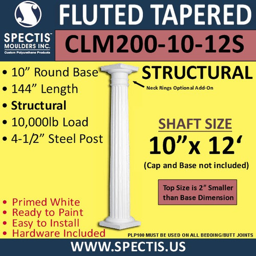 "CLM200-10-12S Fluted Tapered Column 10"" x 144"" STRUCTURAL"