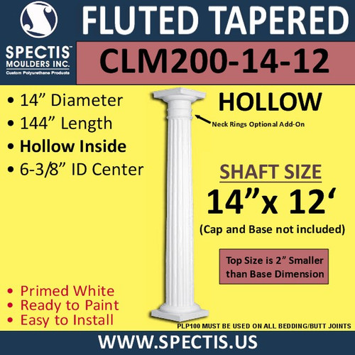 "CLM200-14-12 Fluted Tapered Column 14"" x 144"""