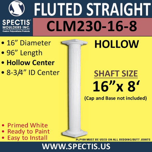 "CLM230-16-8 Fluted Straight Column 16"" x 96"""