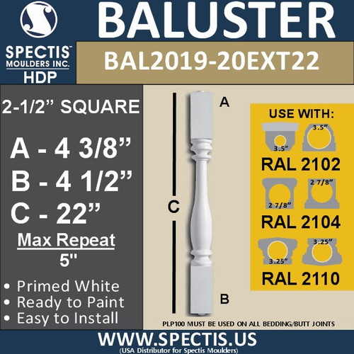 """BAL2019-20EXT22 Urethane Baluster or Spindle 2 1/2""""W X 22""""H"""
