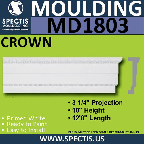 MD1803 Crown Molding Trim decorative spectis urethane