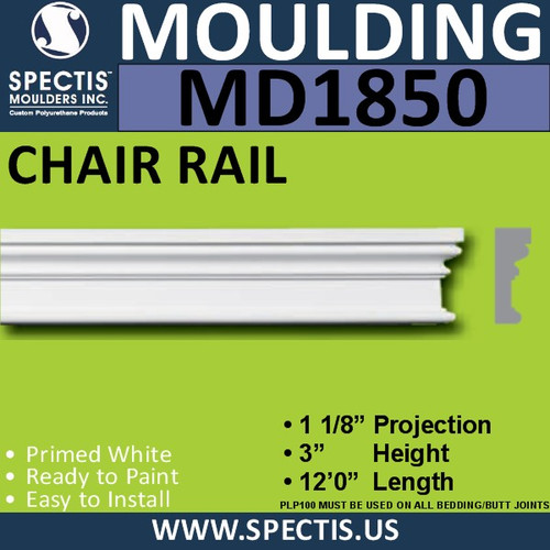 MD1850 Chair Rail Molding Trim decorative spectis urethane