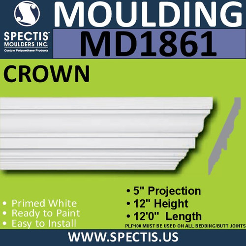 MD1861 Crown Molding Trim decorative spectis urethane