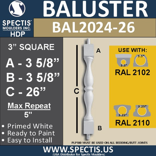 "BAL2024-26 Urethane Baluster or Spindle 3""W X 26""H"