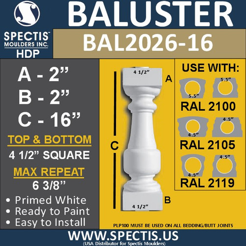 "BAL2026-16 Urethane Baluster or Spindle 4 1/2""W X 16""H"