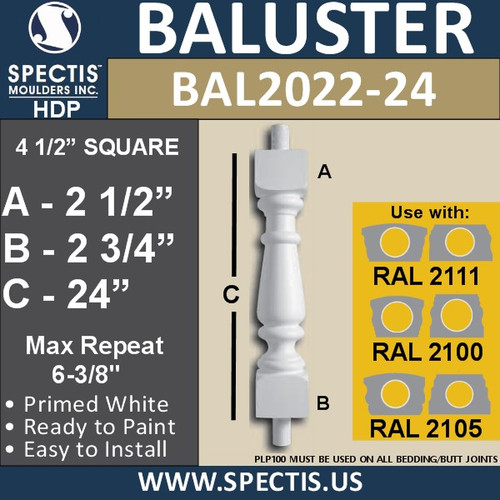 """BAL2022-24 Urethane Baluster or Spindle 4 1/2""""W X 24""""H"""