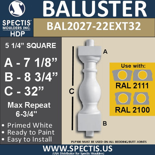 "BAL2027-22EXT32 Urethane Extended Baluster 5 1/4""W X 32""H"