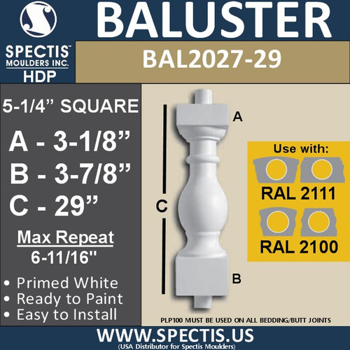 "BAL2027-29 Urethane Baluster or Spindle 5 1/4""W X 29""H"