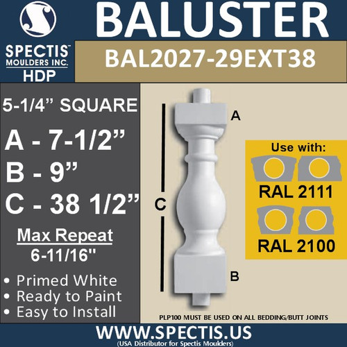 "BAL2027-29EXT38 Urethane Extended Baluster 5 1/4""W X 38""H"