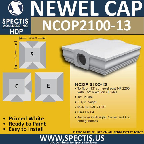 "NCOP 2100-13 Newel Cap Over Post 18""W x 5 1/2"" H For RAL2100T"