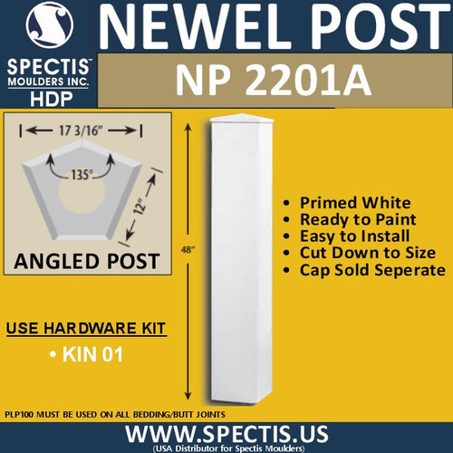 "NP2201A Angled Newel Post 135 Degree 17 3/16"" W x 12"" Sides"