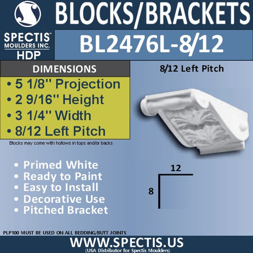 "BL2476L-8/12 Pitch Eave Block or Bracket 3 1/4"" x 2 9/16"" x 5 1/8""P"