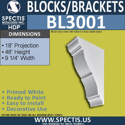 "BL3001 Eave Block or Bracket 9 .25""W 48""H x 18""P"