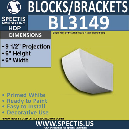 "BL3149 Eave Block or Bracket 6""W x 6""H x 9.5""P"